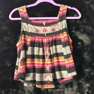Free People Embroidered Striped Tank